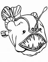 Coloring Sea Pages Fish Creatures Deep Angler Monster Anglerfish Colouring Teeth Under Enormous Outlines Printable Sheets Merman Mermaids Drawings Draw sketch template