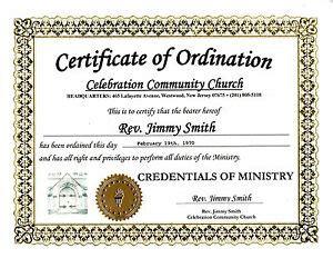 ordain easily  immediately   ordained minister