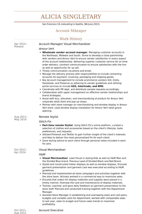Visual Merchandising Manager Resume Objective by Account Manager Sales Post Resume Search