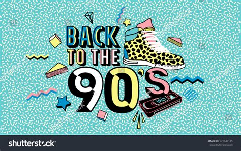 Back To The 90 by Back 90s Style Poster Invitation Stock Vector