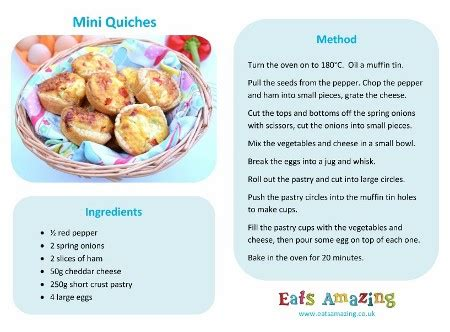 easy mini quiches recipe 603 | Mini quiches Recipe Free printable easy recipe for kids great for cooking with children