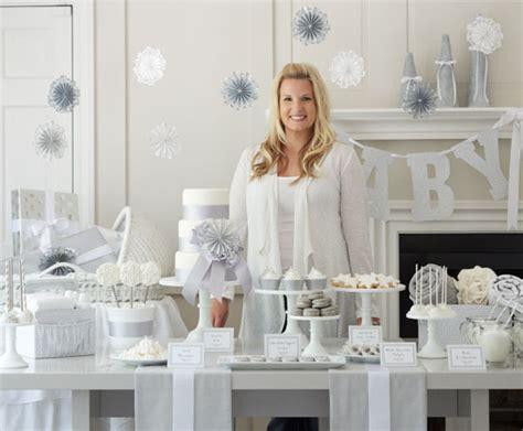 white baby shower ideas soft winter baby shower idea