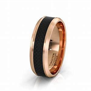 Mens Wedding Band 8mm Rose Gold Tungsten Ring Polished