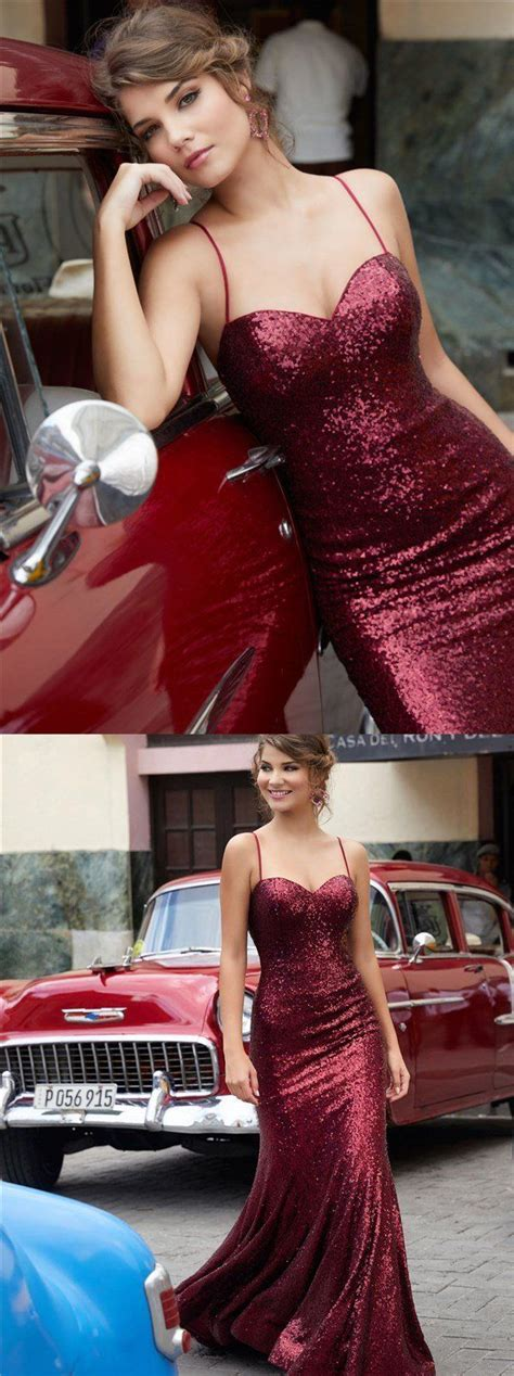 Charming Red Gold Black Sequin Sparkly Prom Dresses, Party ...
