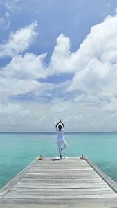 Wallpaper, Yoga, Beach, Sea, Blue, Sky, Sport, 10413