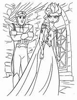 Coloring Hans Prince Elsa Horse Queen Mad Ride sketch template