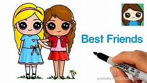 How to Draw Two Cute Girls Easy - Best Friends Forever ...