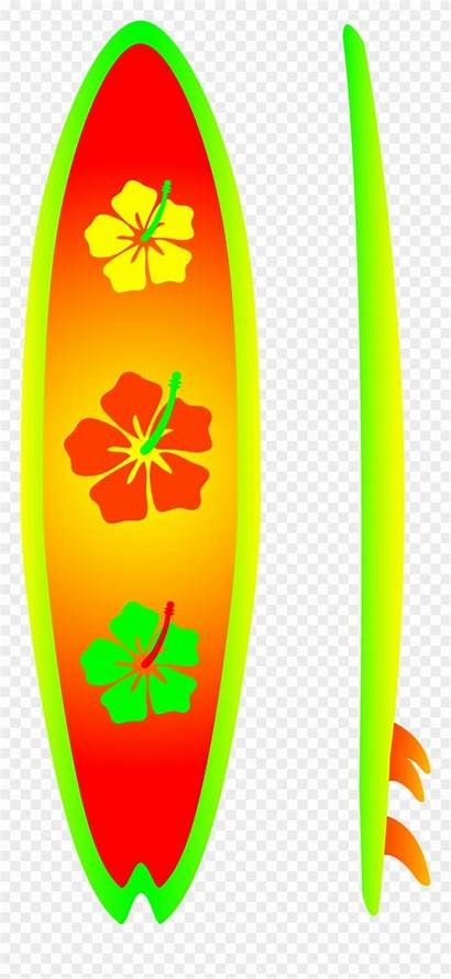 Clip Neon Board Clipart Surfing Surfboard Hibiscus