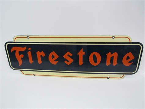 Cards issued by halfords ltd. 1951 Firestone Tires double-sided tin automotive garage sign.