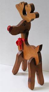 "Large 15"" Wooden Vintage Rudolph The Red Nosed Reindeer"