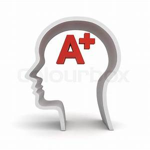Red A Plus In Human Head Shape Isolated Over White
