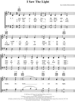 i see the light piano pdf hank williams quot i saw the light quot sheet music download print