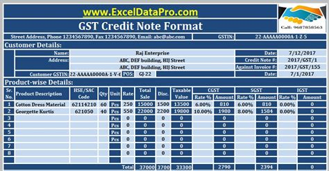gst credit note format excel issued goods return