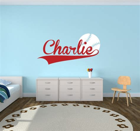 personalized baseball name decal sports decor room