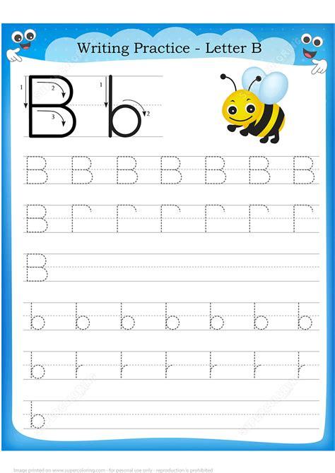 letter    bee handwriting practice worksheet
