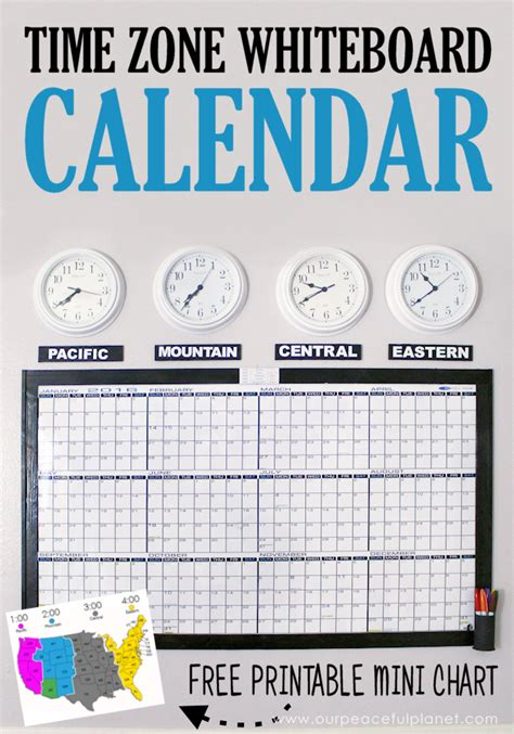 time zones whiteboard calendar printable