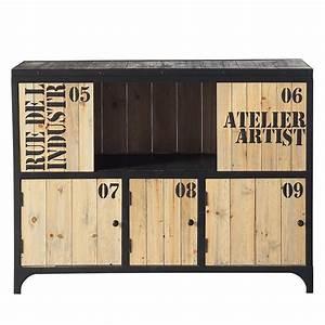 Buffet Bois Pas Cher : mobilier industriel meuble cuba buffet buffet metal et bois ~ Teatrodelosmanantiales.com Idées de Décoration