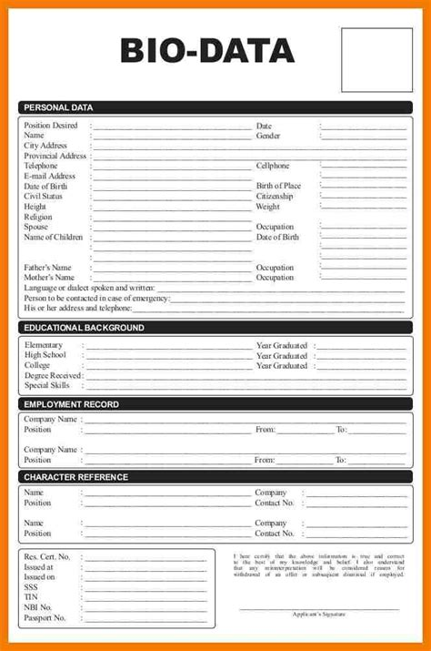 Biodata Format For by 5 Biodata Format For Student Mailroom Clerk Format