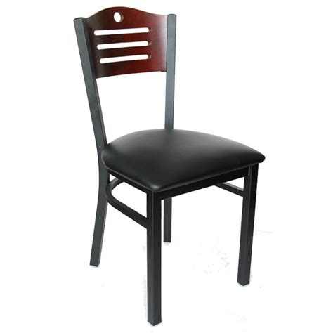 black metal frame chair with mahogany wood back and black