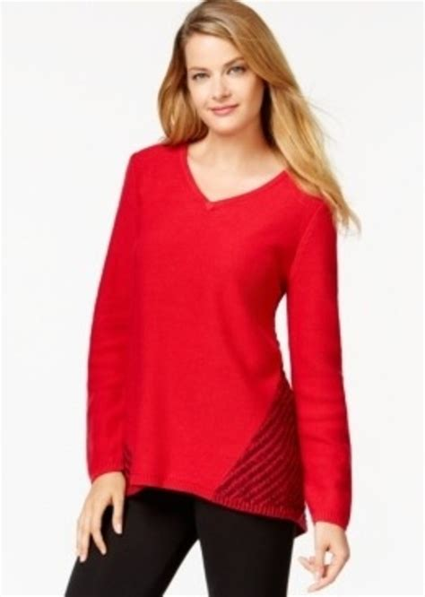 style and co sweaters style co style co contrast knit v neck sweater