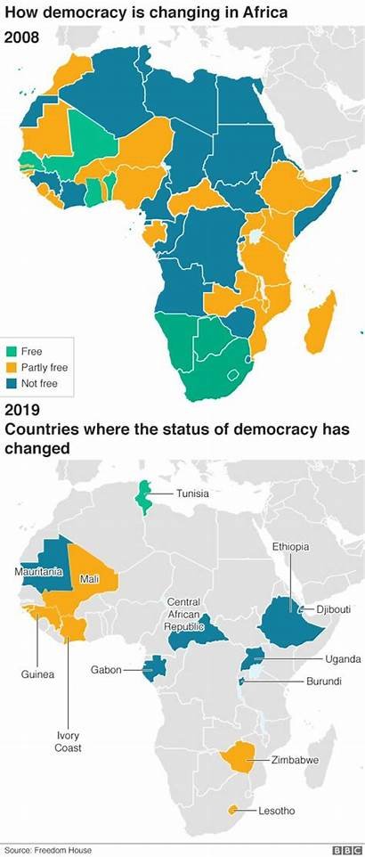 Democracy Africa Countries Map Freedom Backwards Going