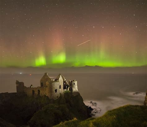 ireland northern lights northern lights dunluce castle co antrim ireland