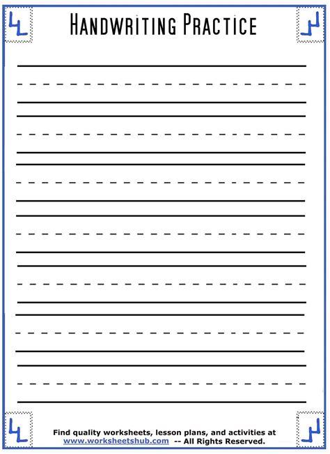 printable lined handwriting worksheets printable