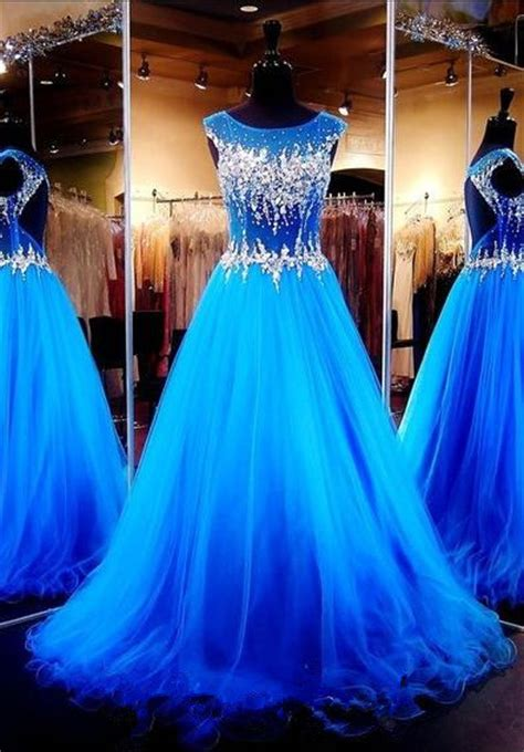 royal blue crystals luxury prom dresses capped sleeves