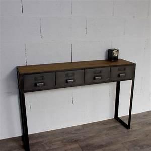 Console Style Industriel : console style industriel avec tiroirs sur mesure fabriqu e notre atelier ~ Teatrodelosmanantiales.com Idées de Décoration