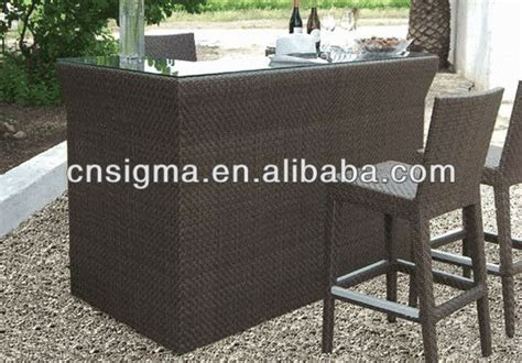 2015 sale outdoor furntiure resin wicker bar table in