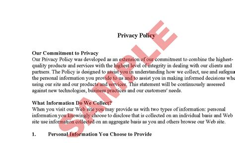 privacy policy template ecommerce website privacy policy sle preview