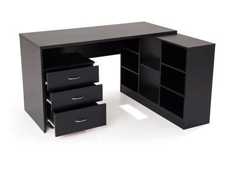 bureau d angle noir bureau d 39 angle en bois avec caisson l135 5 cm presto noir
