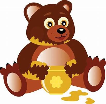 Bear Honey Clipart Eating Hungry Teddy Bears