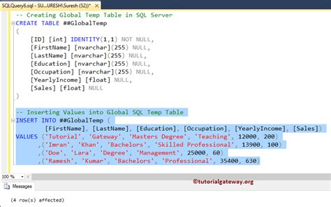 how to use temp table in sql server temp table in sql server