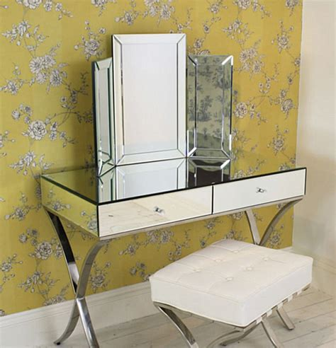 thin dressing table adding shine with mirrored furniture