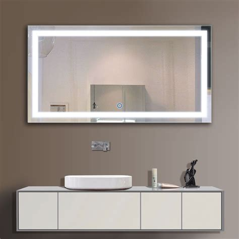 24 Bathroom Mirror by 48 X 24 In Horizontal Led Bathroom Silvered Mirror With