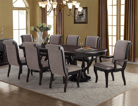 mcferran  formal black finish grey fabric dining