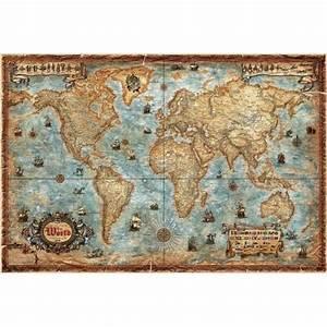 Affiche Carte Du Monde : poster affiche carte 3 monde ancienne style ancien vintage ~ Dailycaller-alerts.com Idées de Décoration