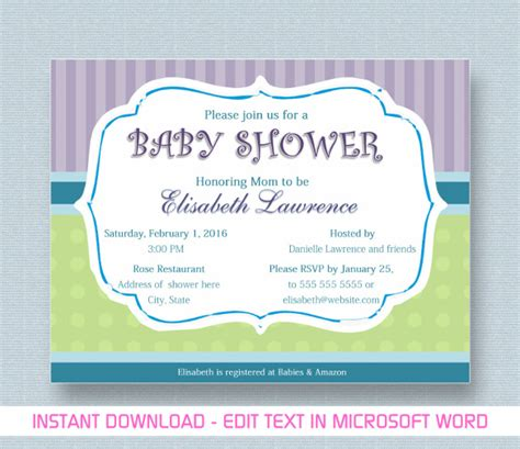 baby shower invitations for word templates baby shower invitation template 29 free psd vector eps ai format free premium