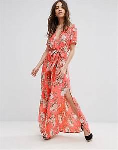 boohoo boohoo floral print tie waist wrap maxi dress With robe longue portefeuille