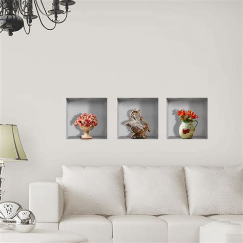 home interior pictures wall decor vase flower 3d lattice wall decals pag removable