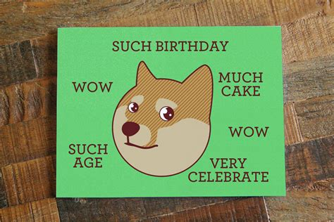 Meme Birthday Cards - funny birthday card doge quot such birthday quot internet meme humor card cute dog shibe greeting