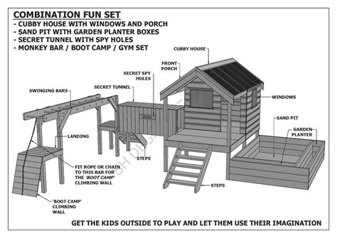 house build plans cubby play house sand pit tunnel play combo