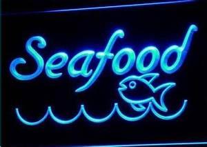 Seafood Restaurant Fish Display Neon Light Sign [Seafood