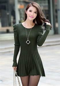 Light Cardigan Sweater Army Green Puff Sleeve Braided Ribbed Sweater Dress