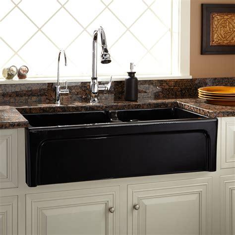 risinger  offset bowl fireclay farmhouse sink casement apron black kitchen