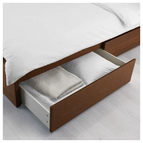 malm bed frame high w 2 storage boxes brown stained ash