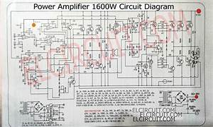 This Power Amplifier Circuit Is A 1600w Mono Circuit That Uses Transistors As An Amplifier  For