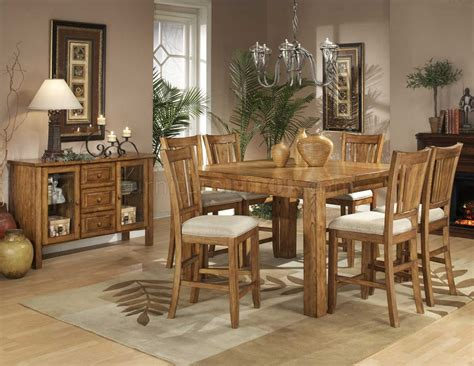 natural oak finish counter height table w optional chairs