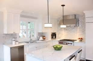 White Kitchen with Gray Tile Backsplash